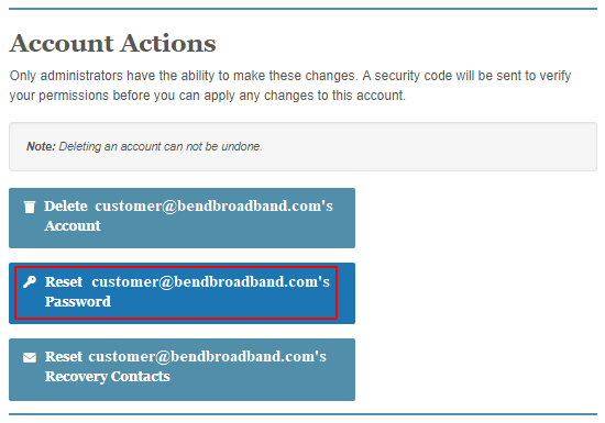 Account actions