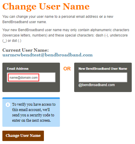 Change user name email address