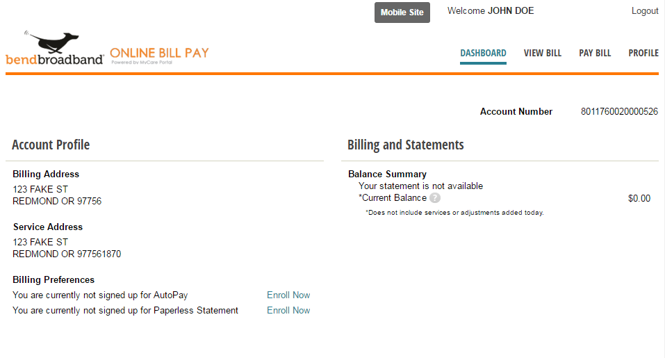 Screenshot of BendBroadband's online bill pay dashboard view. Shows Account Profile Information and Billing and Statements information.