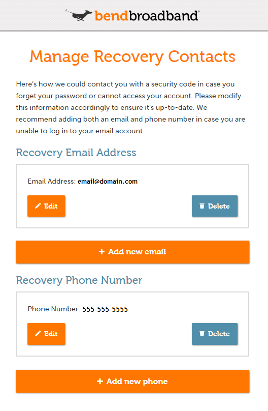Manage recovery contacts