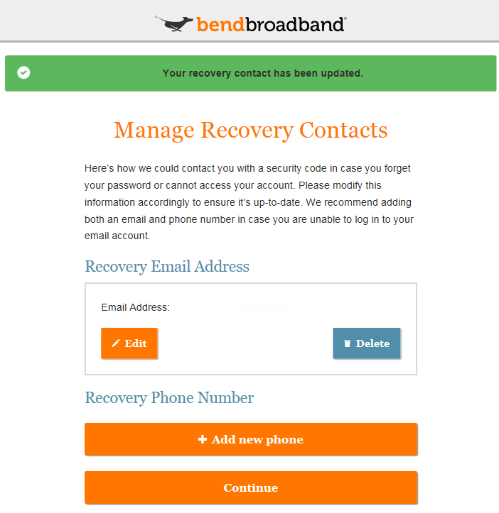 Your recovery contact has been updated Screenshot