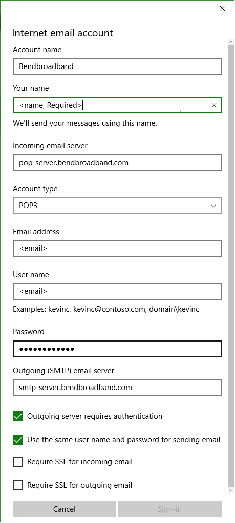 Windows 10 Email Setup
