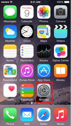 iOS home screen with Settings icon highlighted
