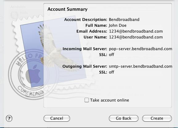 Mac Mail Account Summary Screenshot