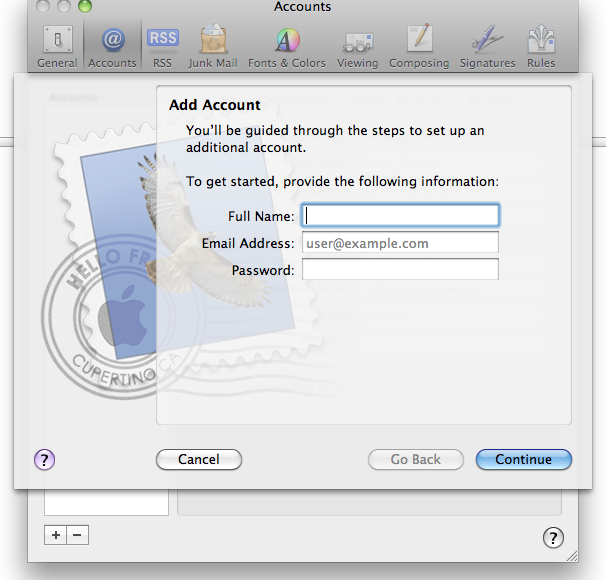 Mac Mail Add Account Screenshot