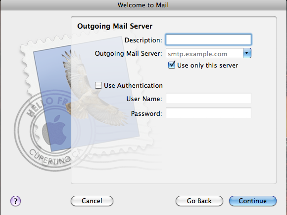 Mac Mail Outgoing Mail Server Screenshot
