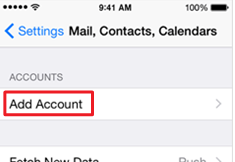 Mail menu with the Add Account option highlighted