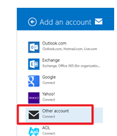Microsoft Mail for Windows 8/8.1 Add an account