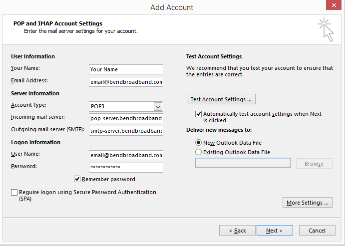 Microsoft 2013 POP and IMAP Account Settings