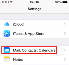 Settings screen with the Mail, Contacts, Calendars option highlighted