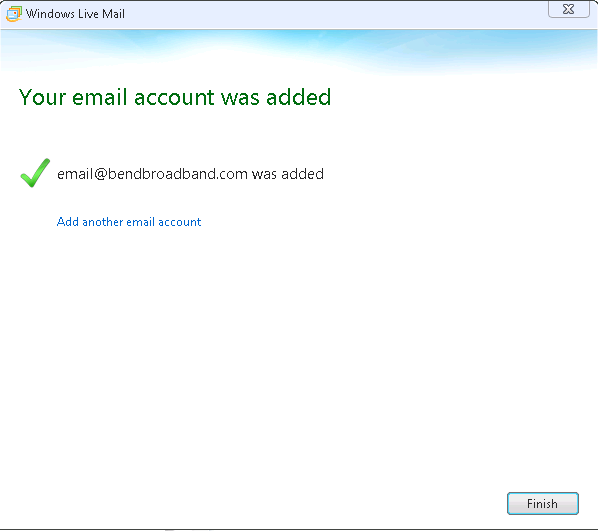 Screenshot of confirmation page that says Your email account was added.