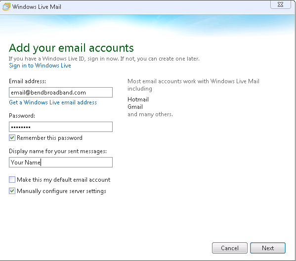 Screenshot of Add your email accounts with fields filled in.