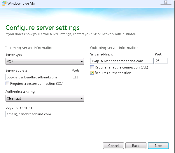 Screenshot of Configure server settings with fields filled in.