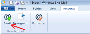 Screenshot of upper left portion of screen with arrow pointing to Email icon