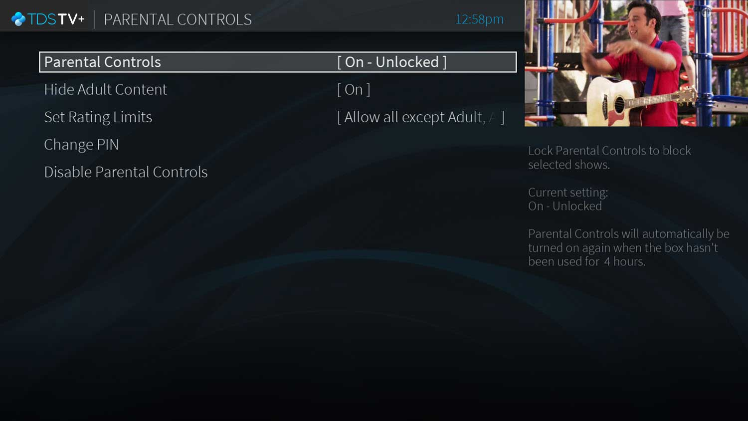 Screen of parental controls