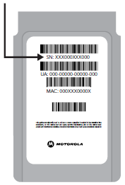 Back of cable card with arrow pointing to the serial number which is the top number on the card