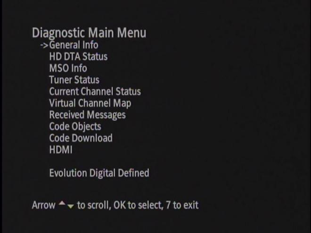 Diagnostic Main Menu Screenshot