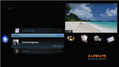 Screenshot of alpha media player, Flickr option selected from Photos Category