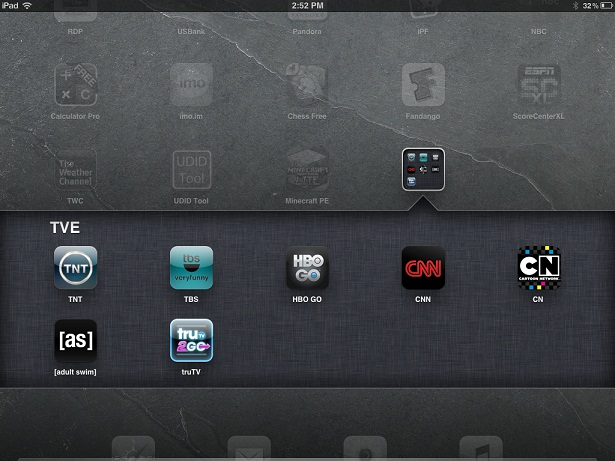 iPad or iPhone Home Screen with TV Everywhere App