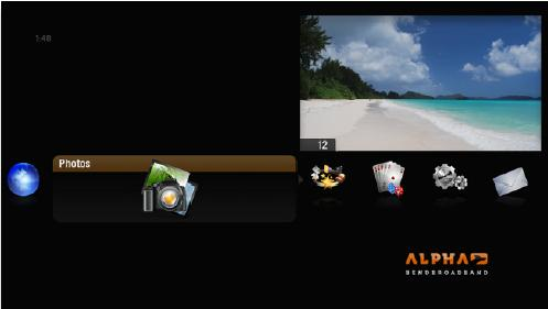 Screenshot of alpha media player, hovering over photos category.