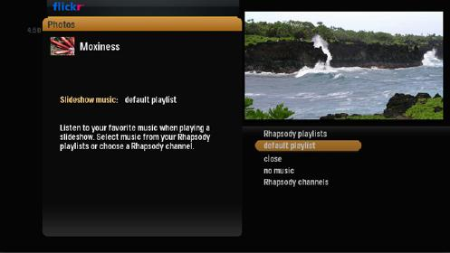Screenshot of alpha media player, slideshow music selected. List of options appears on the left, default playlist is highlighted.